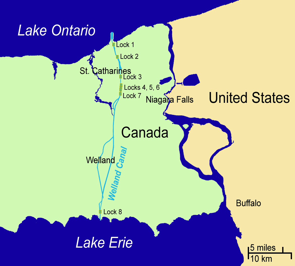 Map of the Welland Canal