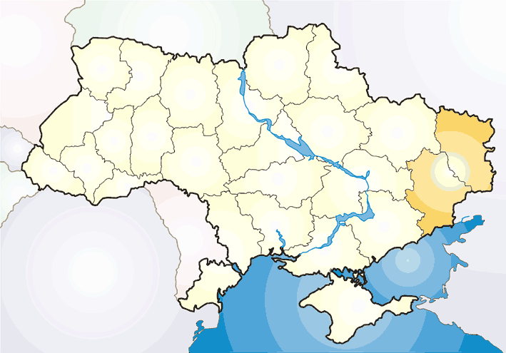 Map of Ukraine Political Simple Donbass large map
