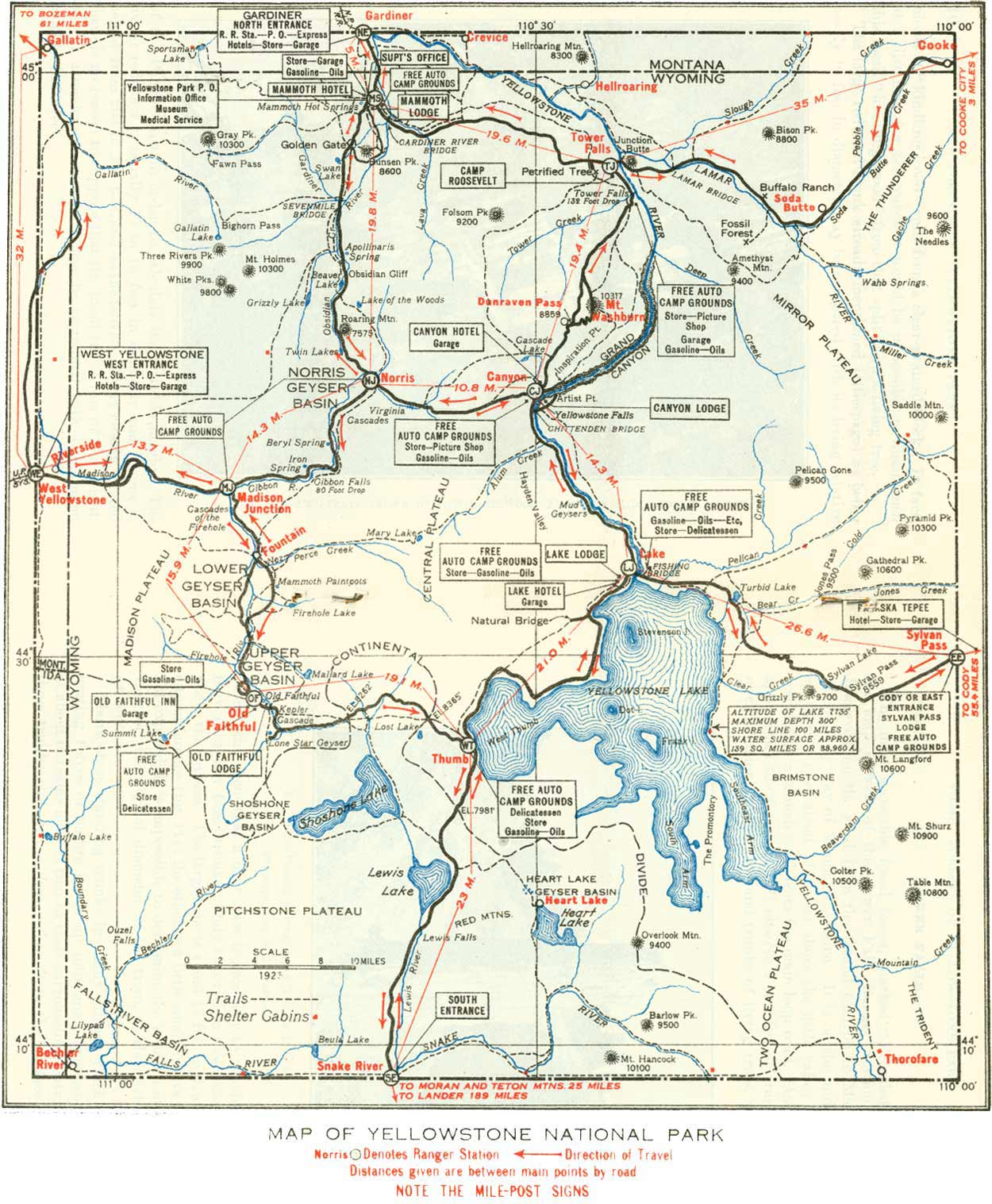 Map of Yellowstone large map