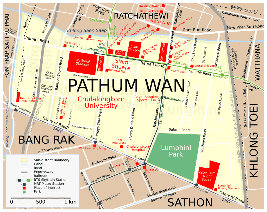 Map Pathum Wan Src Eng