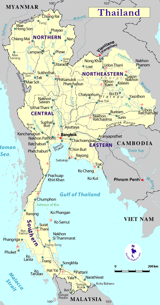 Map Thailand large map