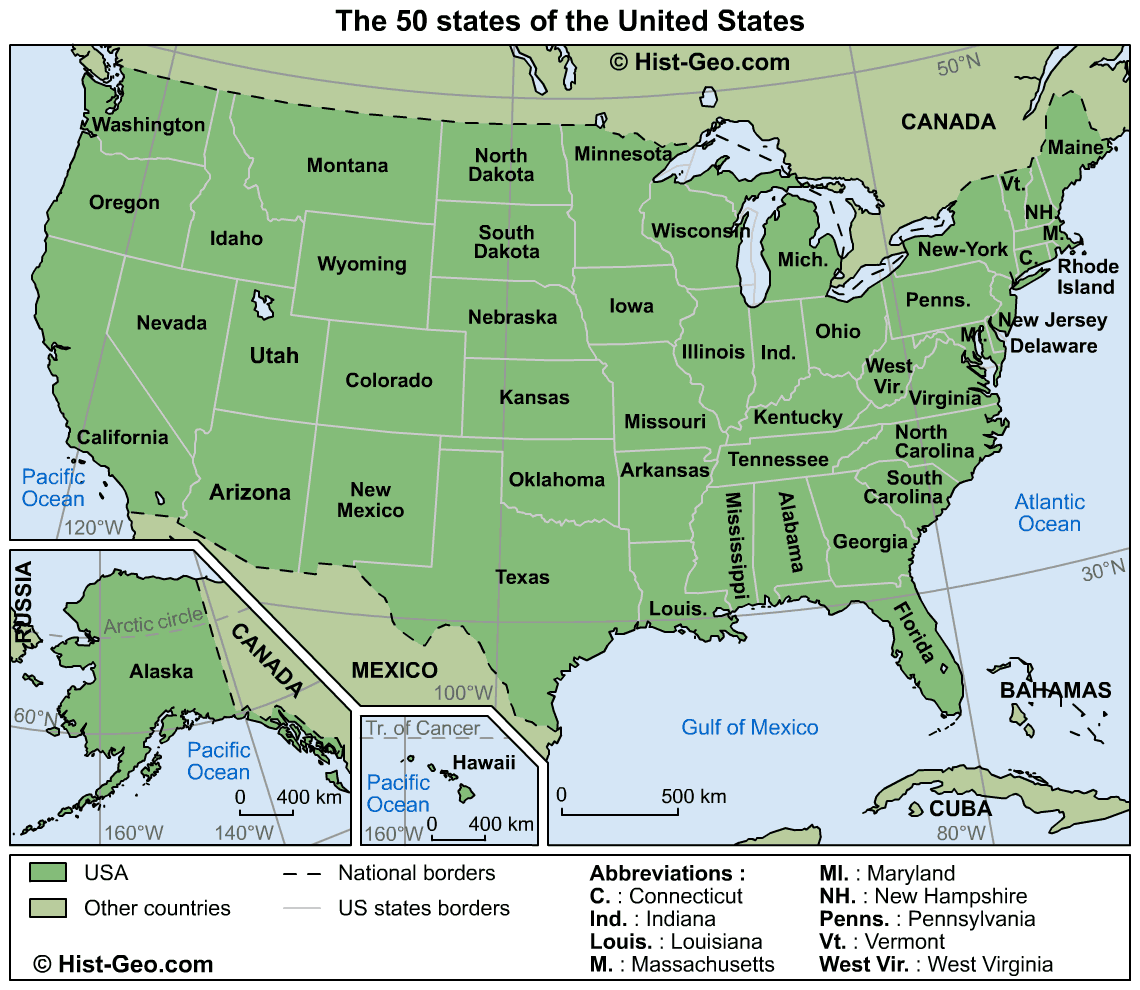 Map Usa 50 States large map