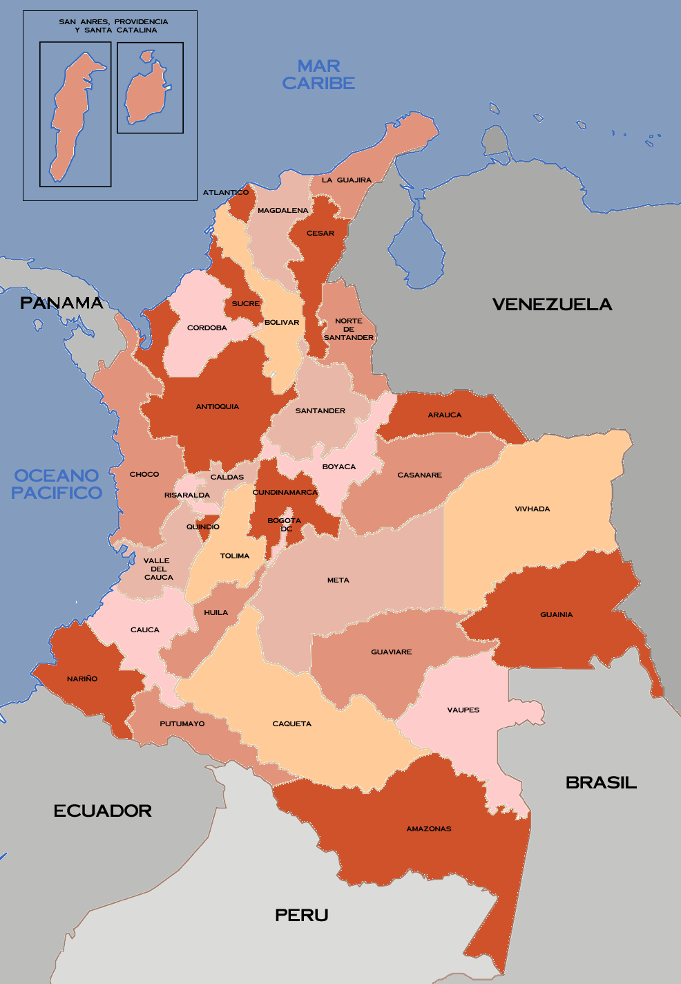 Mapa De Los Departamentos De Colombia 32 large map
