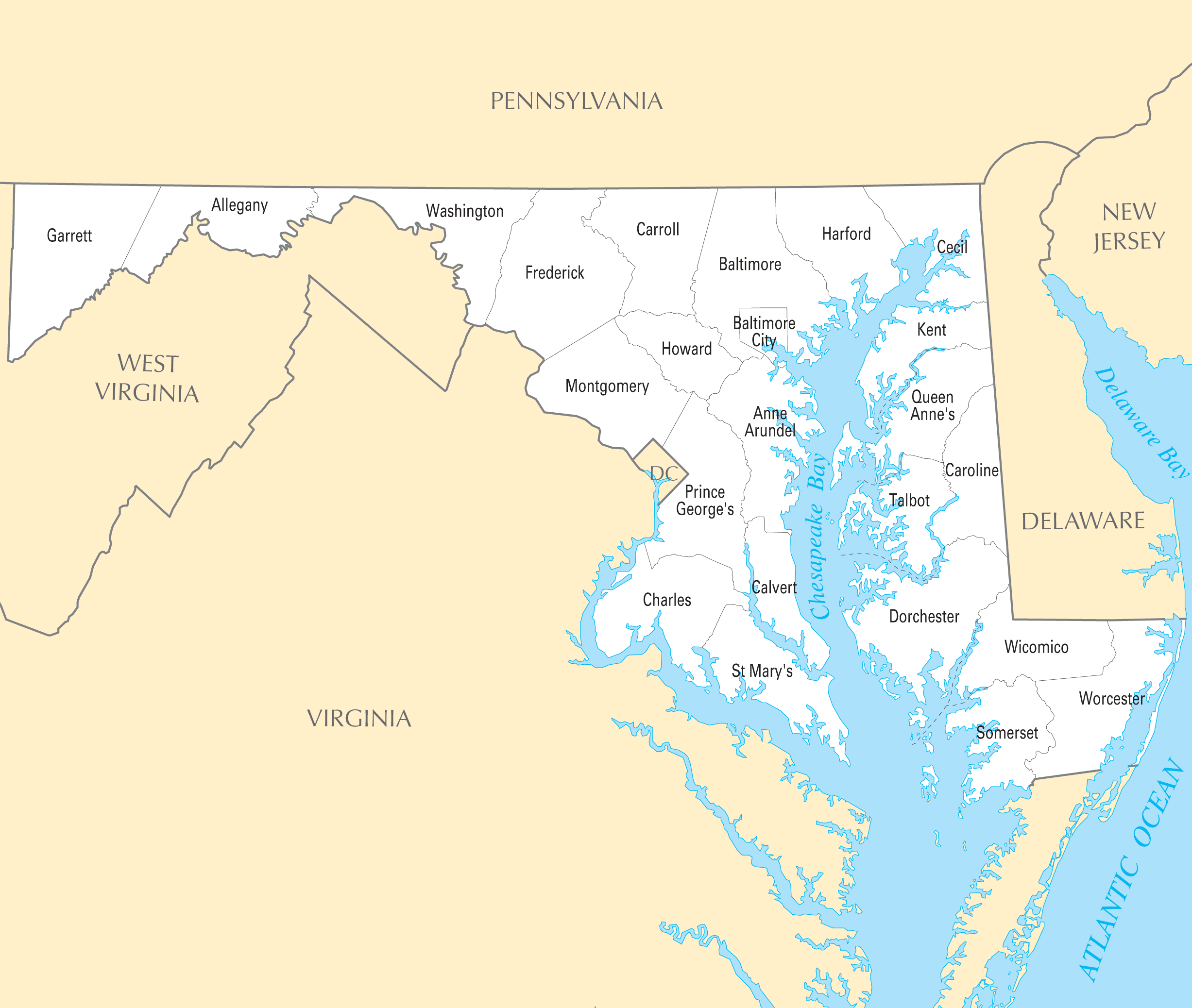 Maryland County Map Mapsofnet - Maryland county map