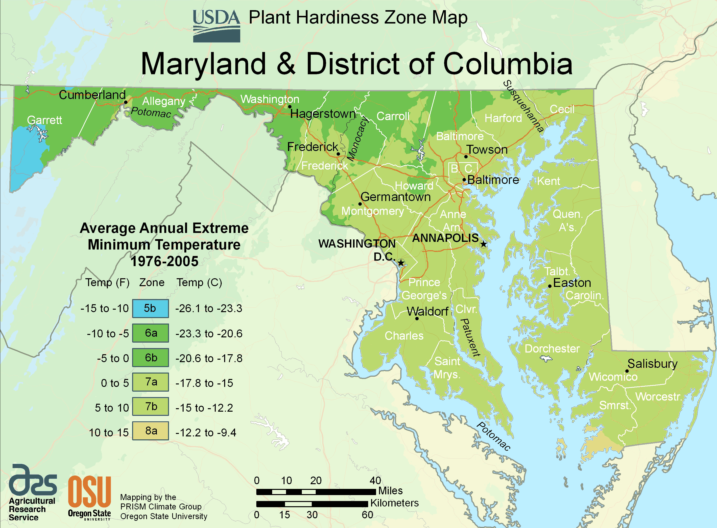 Maryland Plant Hardiness Zone Map large map