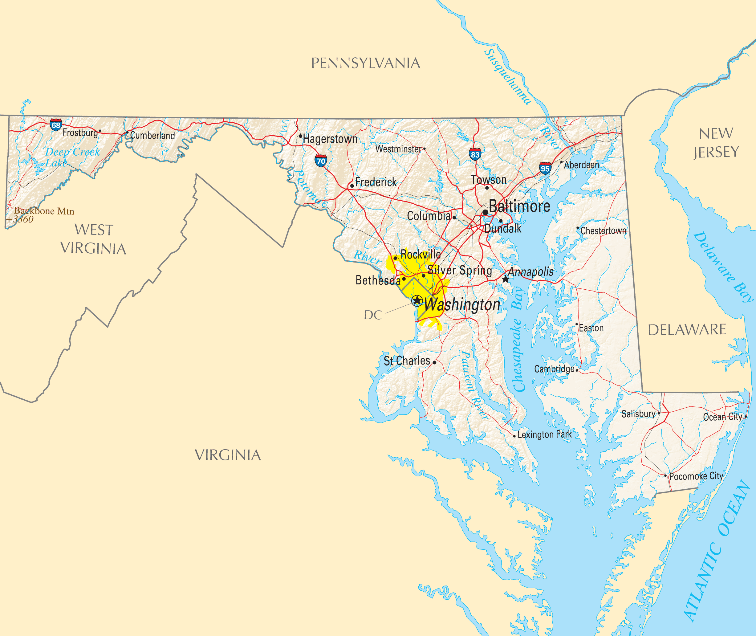 Maryland Reference Map Mapsofnet