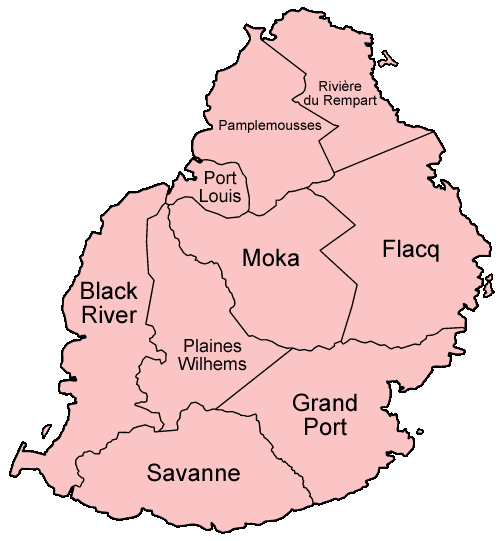 Mauritius Districts Named large map