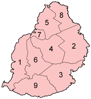 Mauritius Districts Numbered large map
