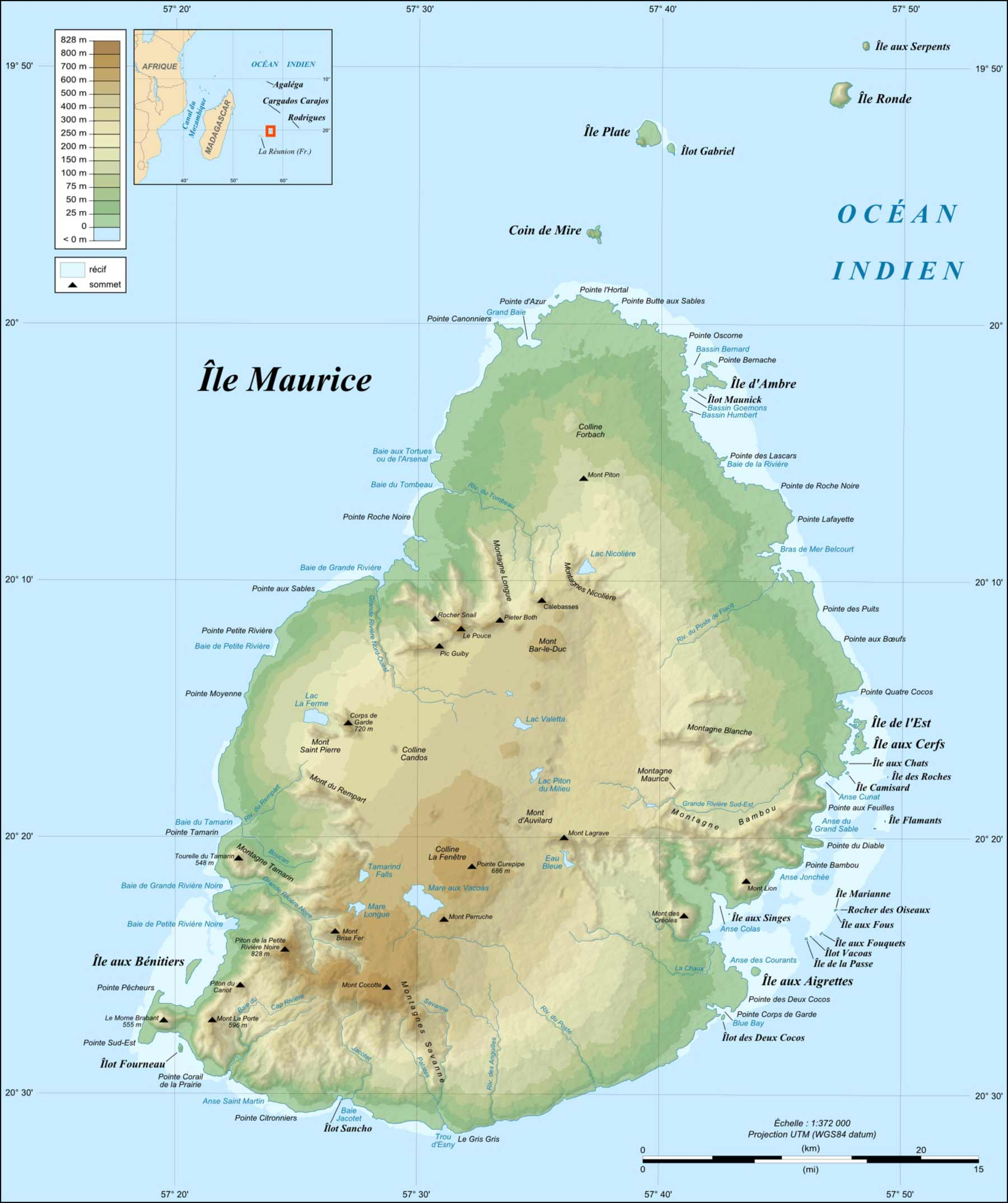 Mauritius Island Topographic Map Fr large map