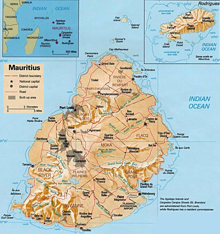 Mauritius Physical Map large map