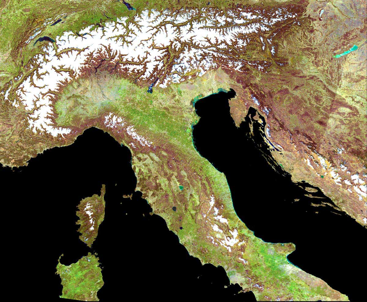 Mediterranean Italy Satellite Image large map