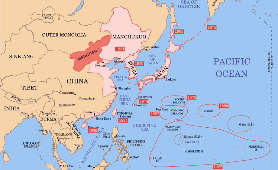 Asian map in 1939