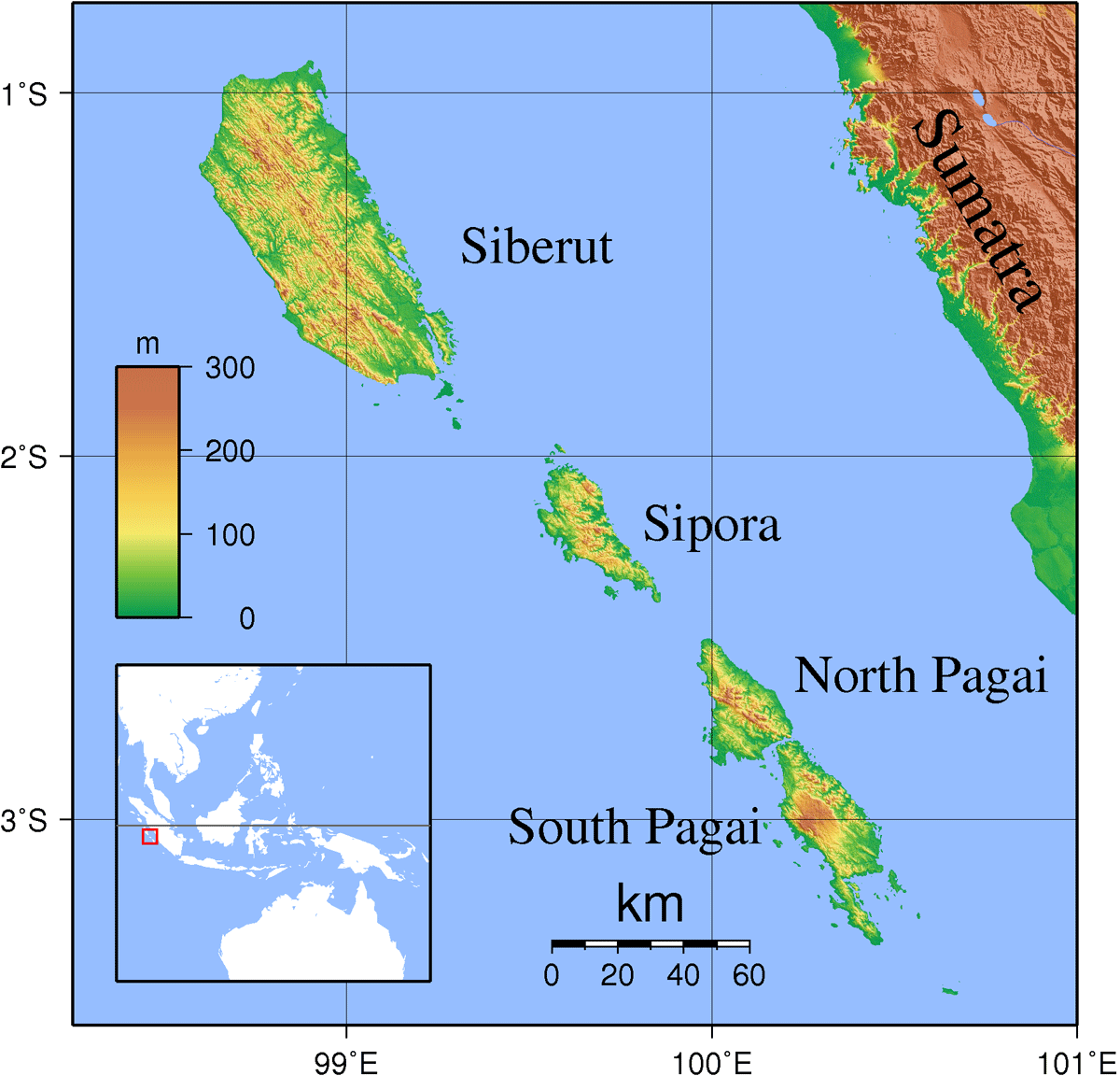 Mentawai Islands Topography large map
