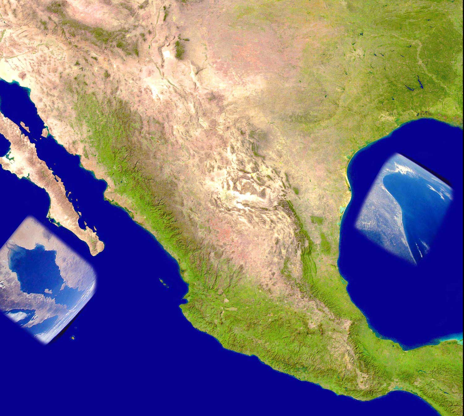 Mexico Satellite Image 2 large map
