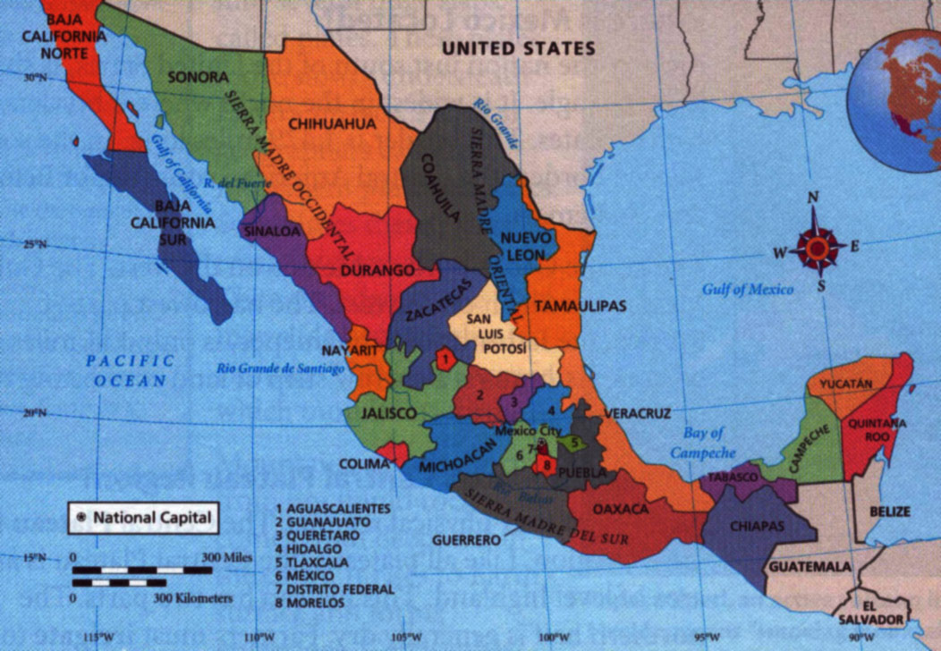 mexico states large map