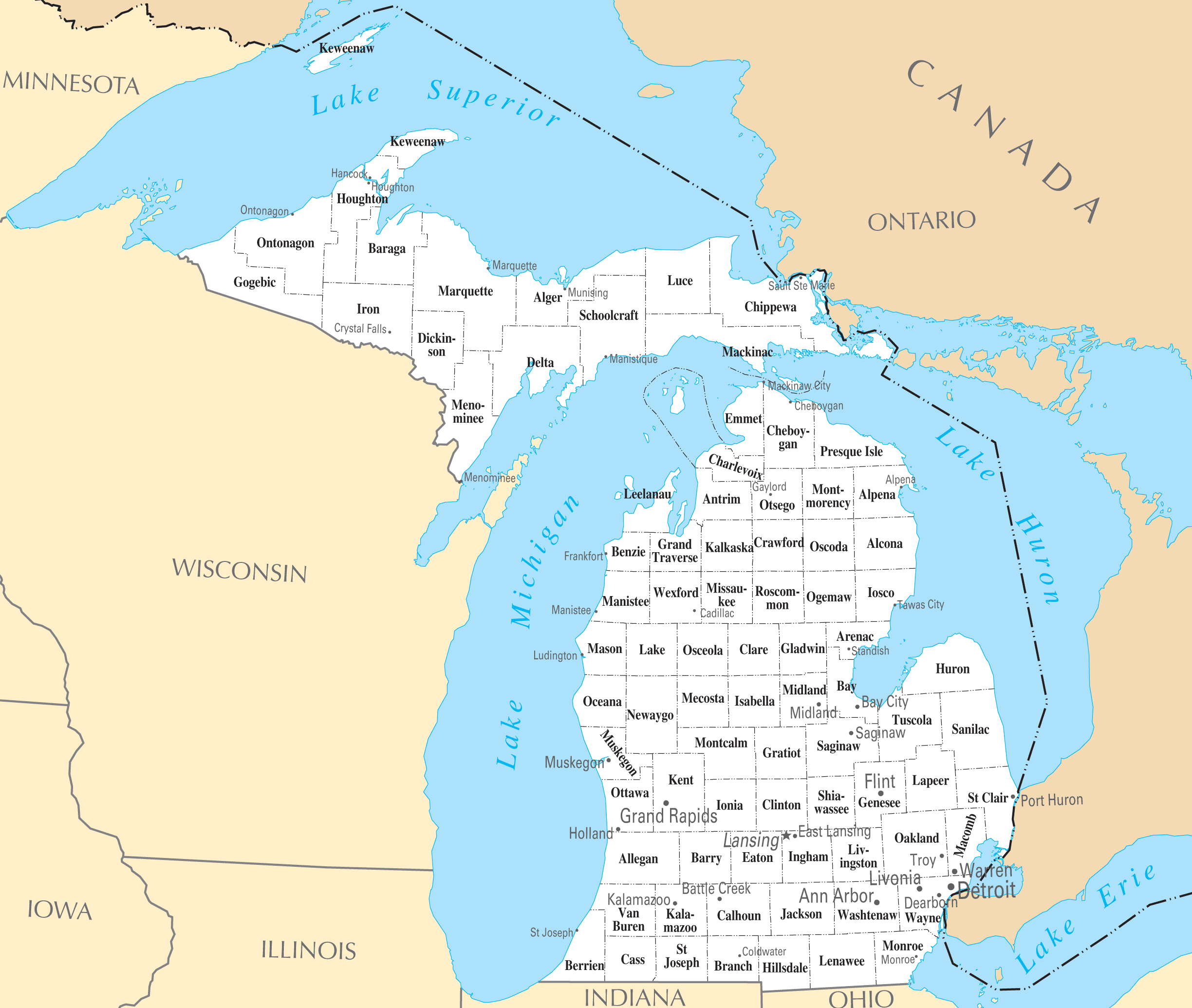 Michigan Cities And Towns • Mapsof.net
