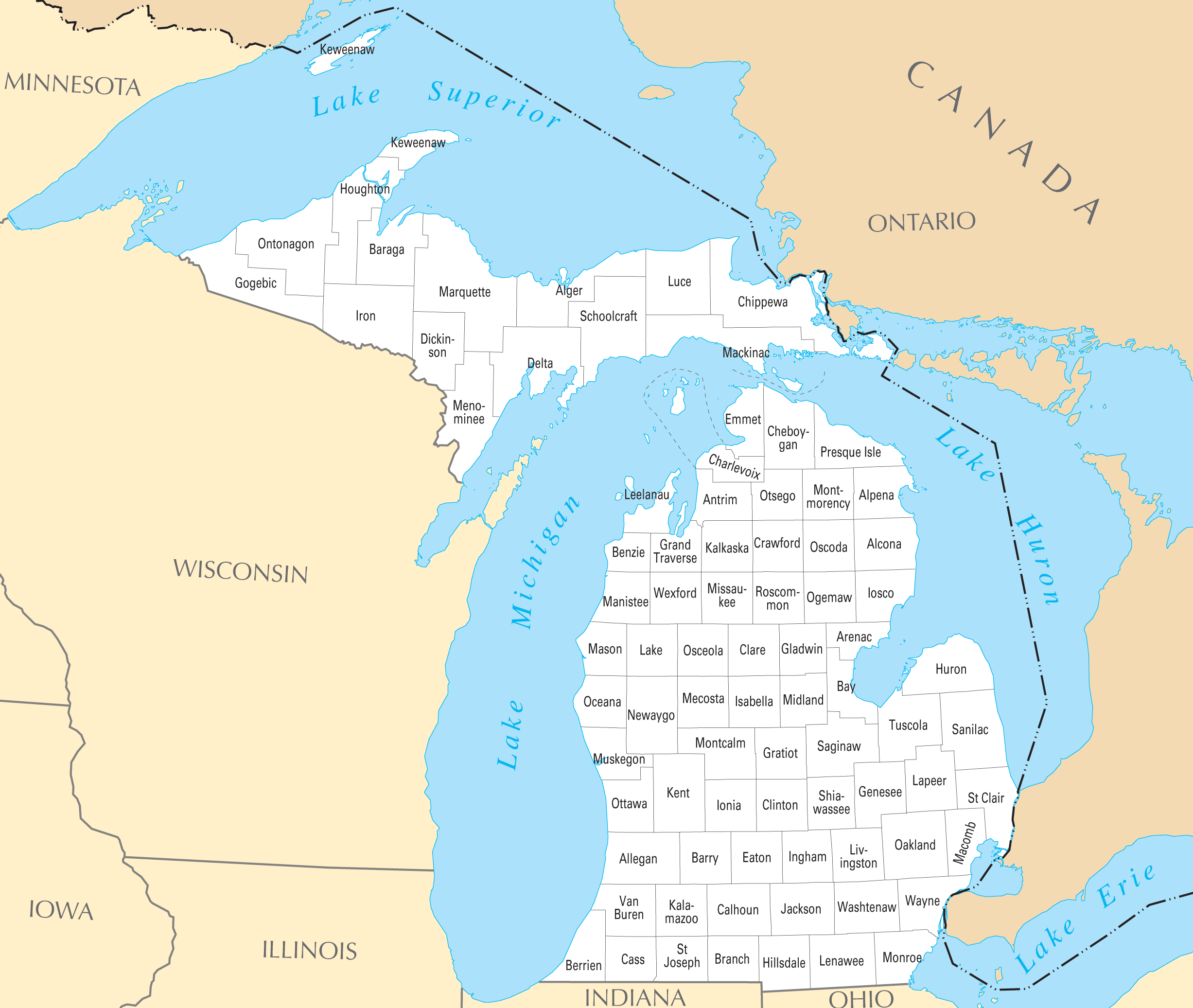 Michigan County Map Mapsofnet