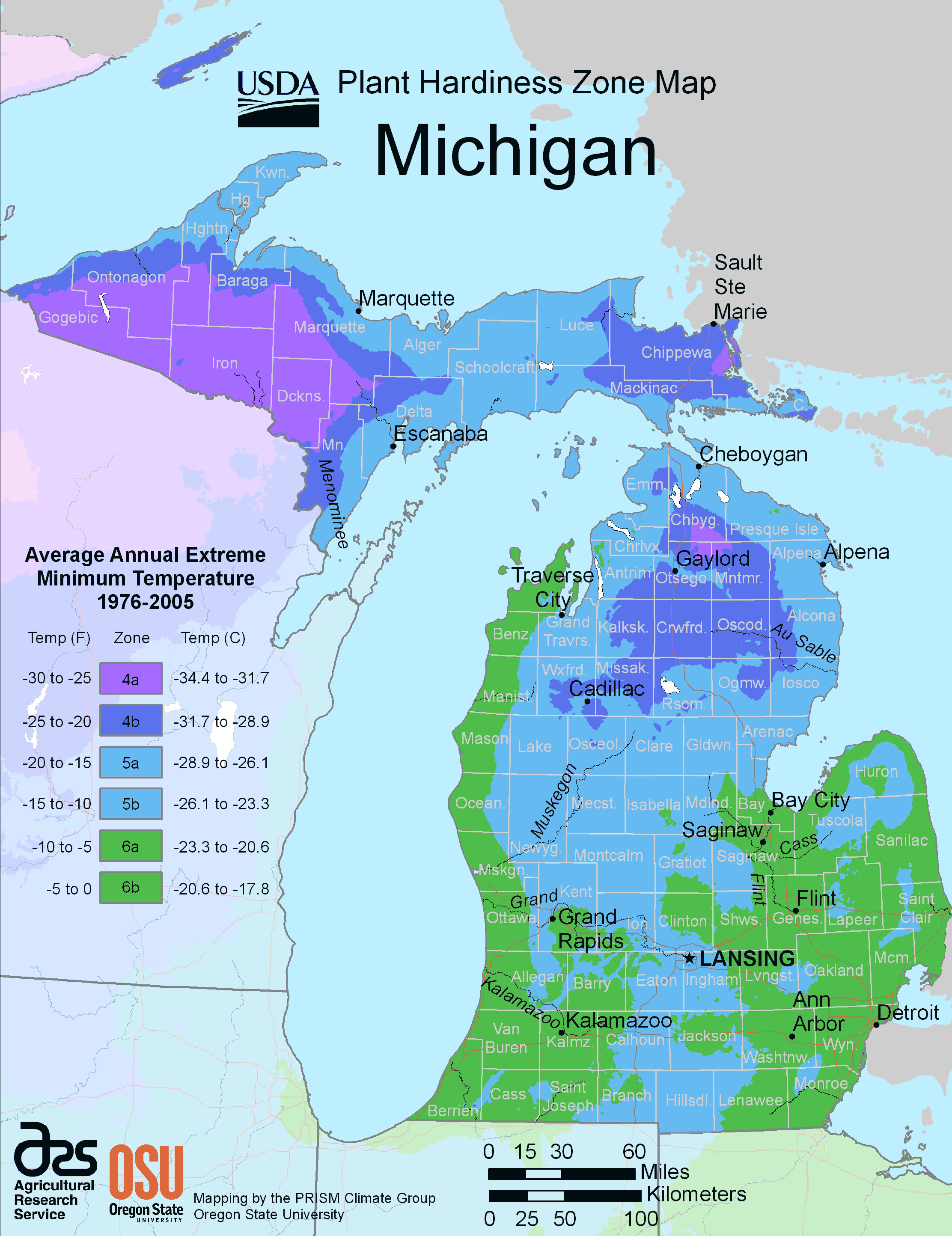 Michigan Plant Hardiness Zone Map large map