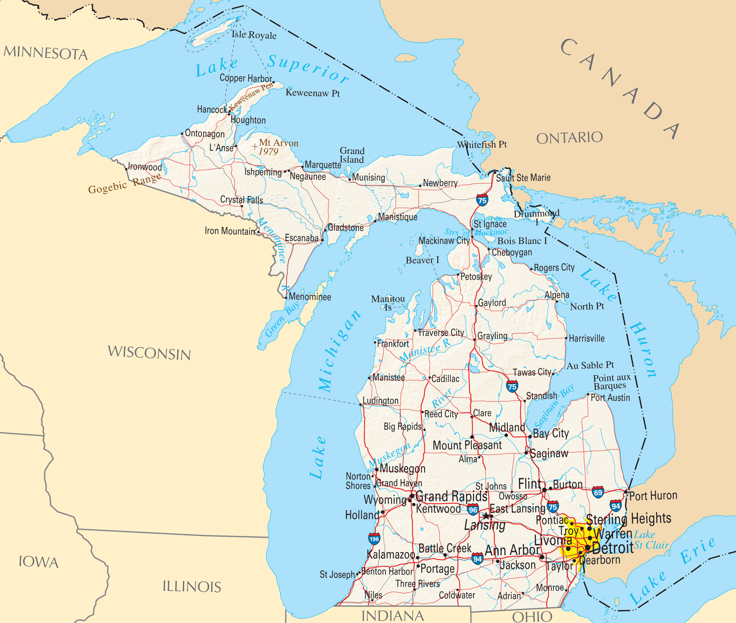 Michigan Reference Map Mapsofnet - Micigan map