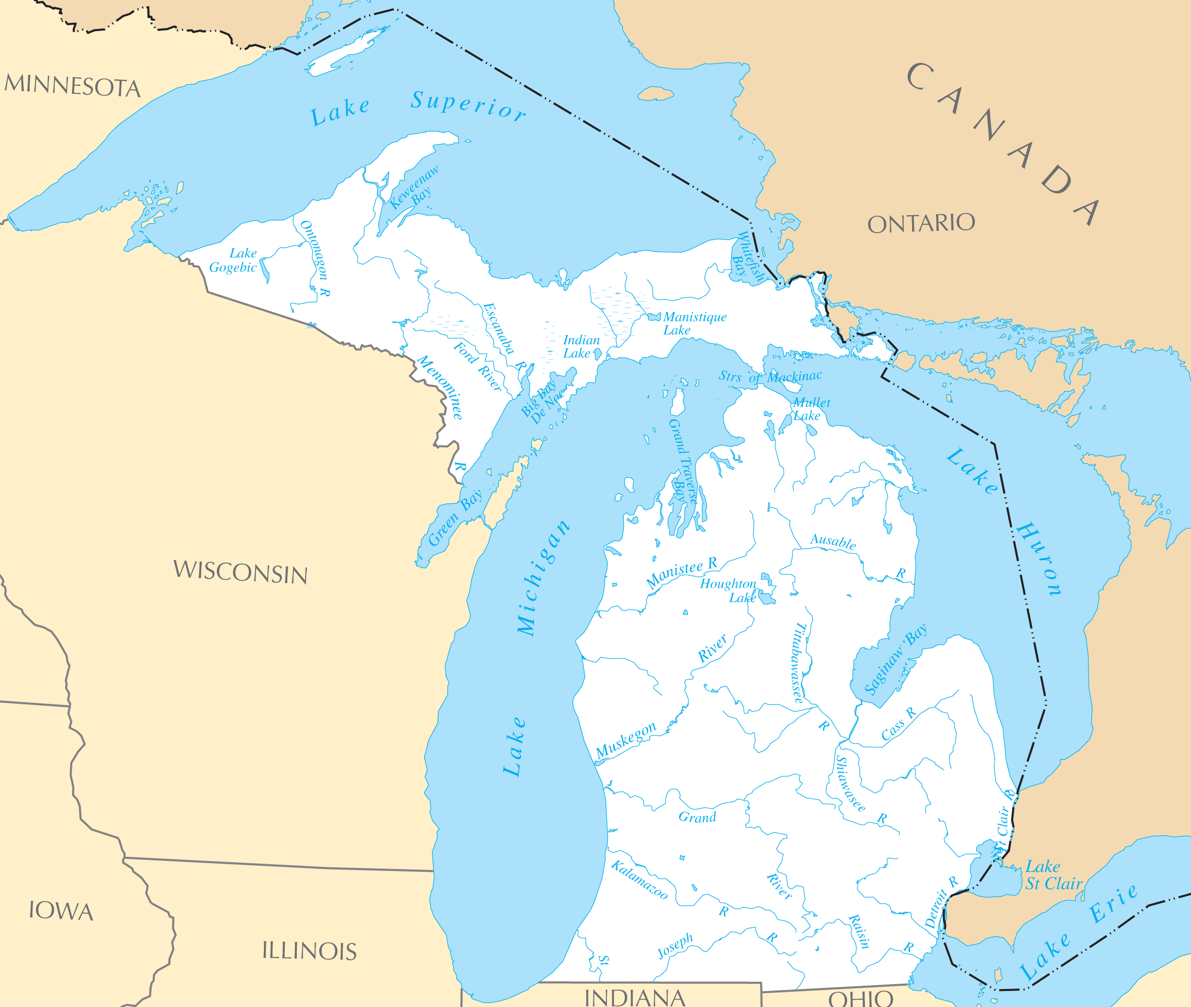 Michigan Rivers And Lakes Mapsofnet - Micigan map