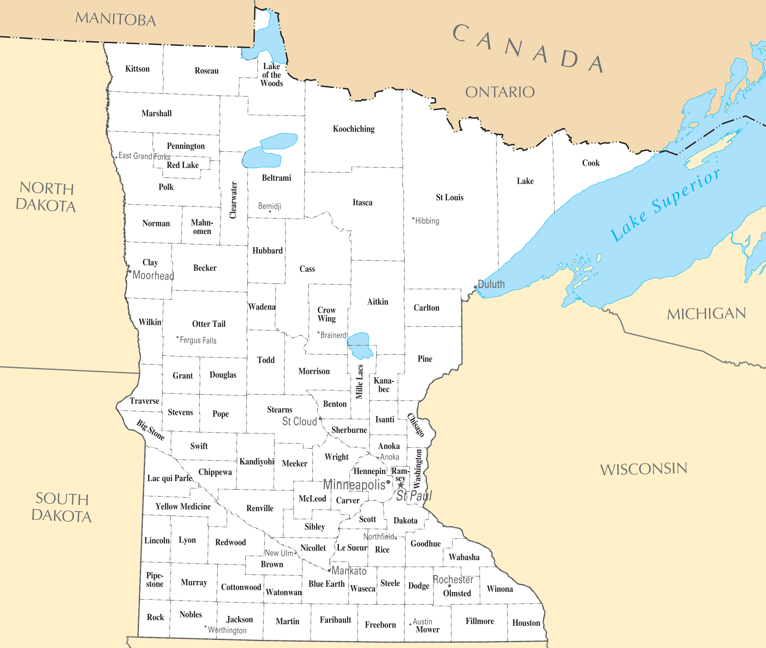Minnesota Cities And Towns  Mapsof