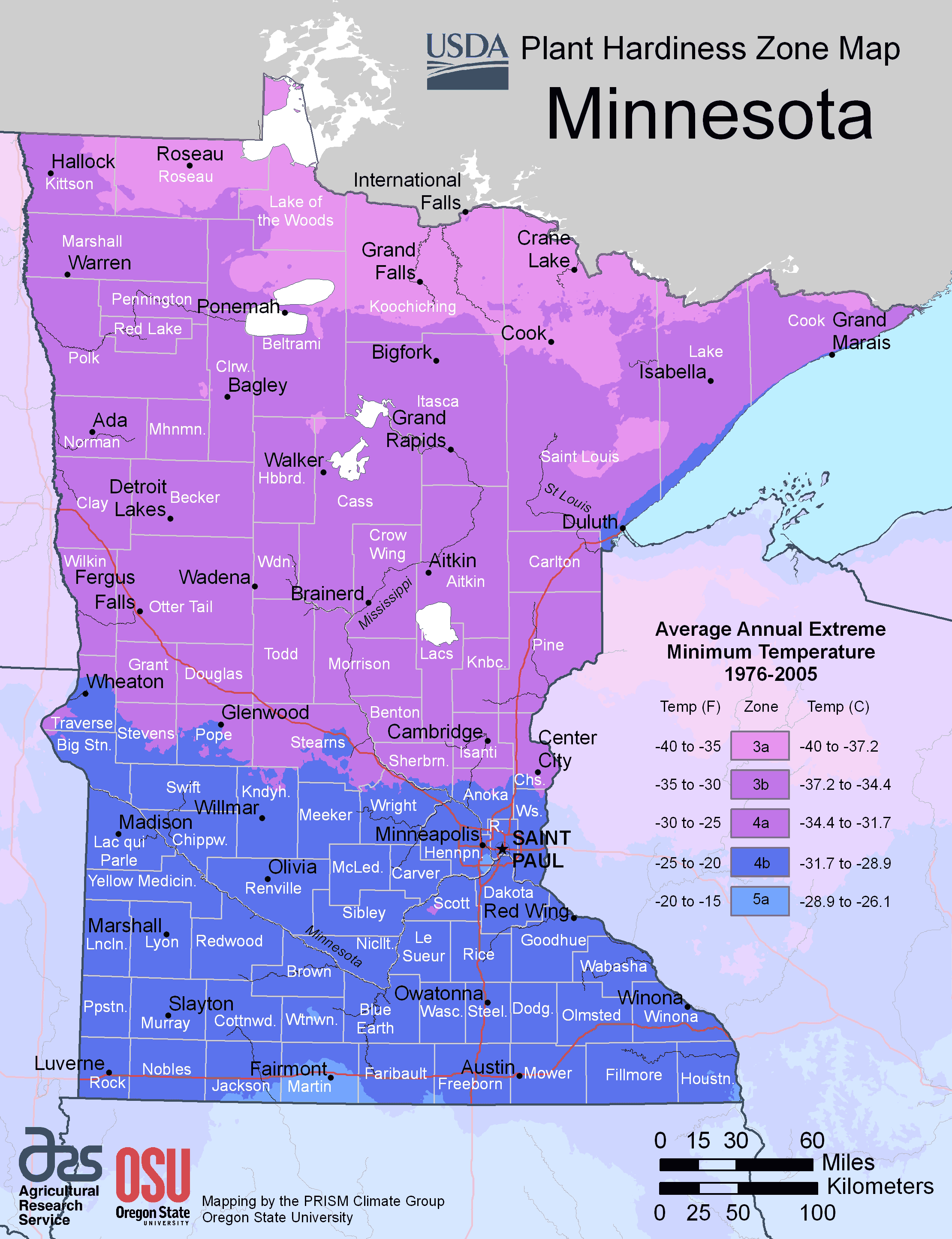 Minnesota Plant Hardiness Zone Map Mapsofnet - Political map of minnesota