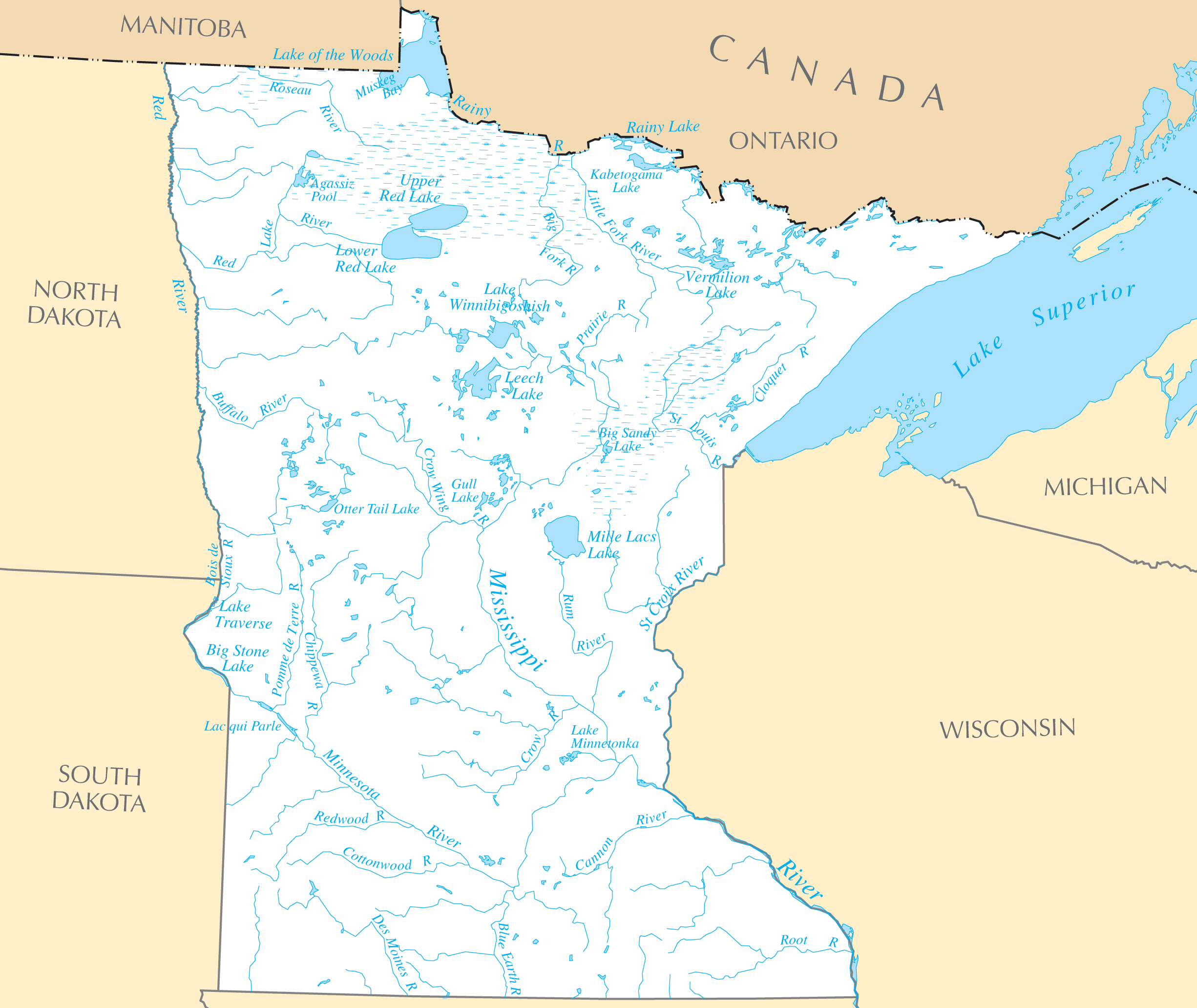 Minnesota Rivers And Lakes Mapsofnet - Minnesota rivers map