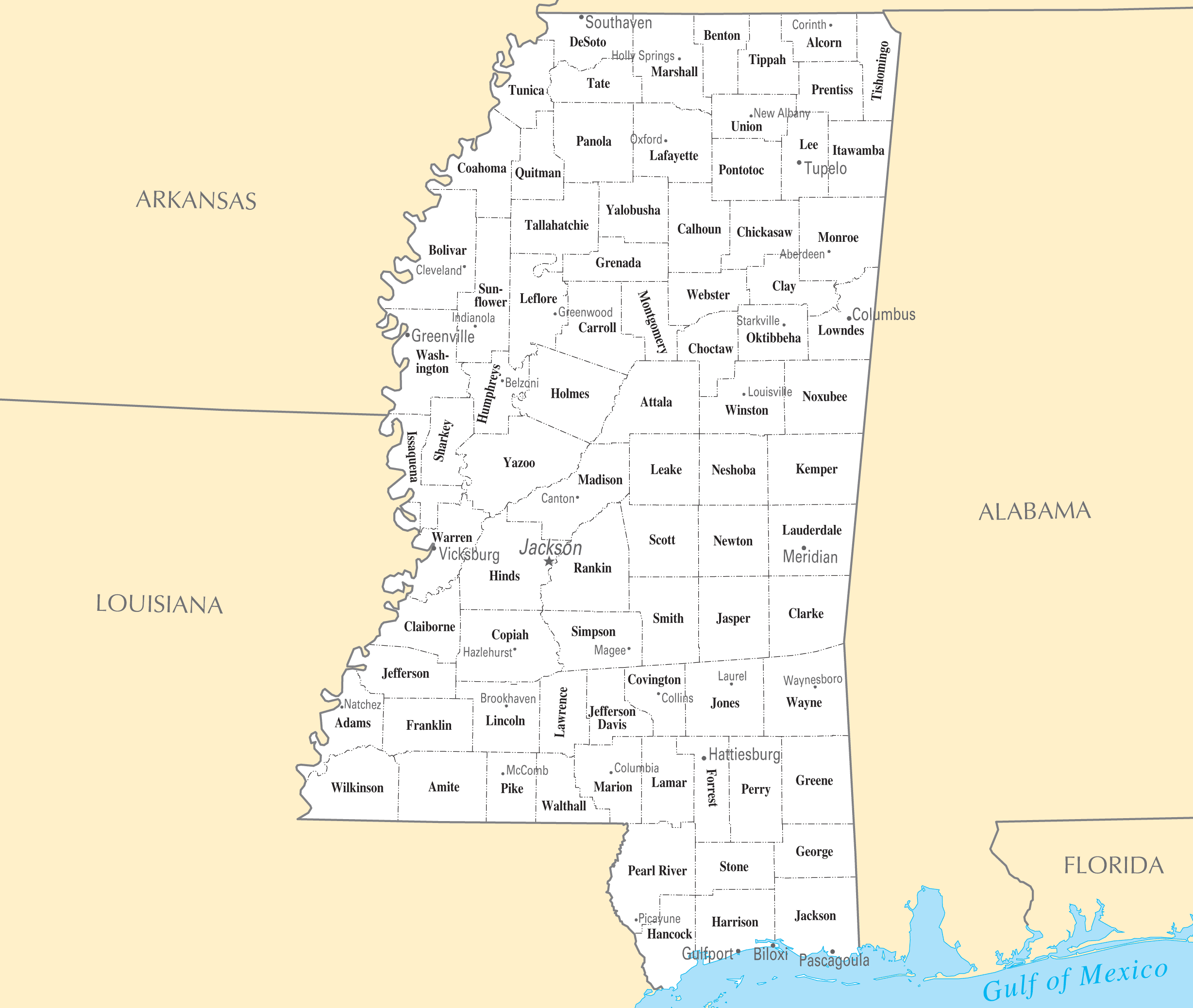 Mississippi Cities And Towns Mapsofnet - Missisippi map