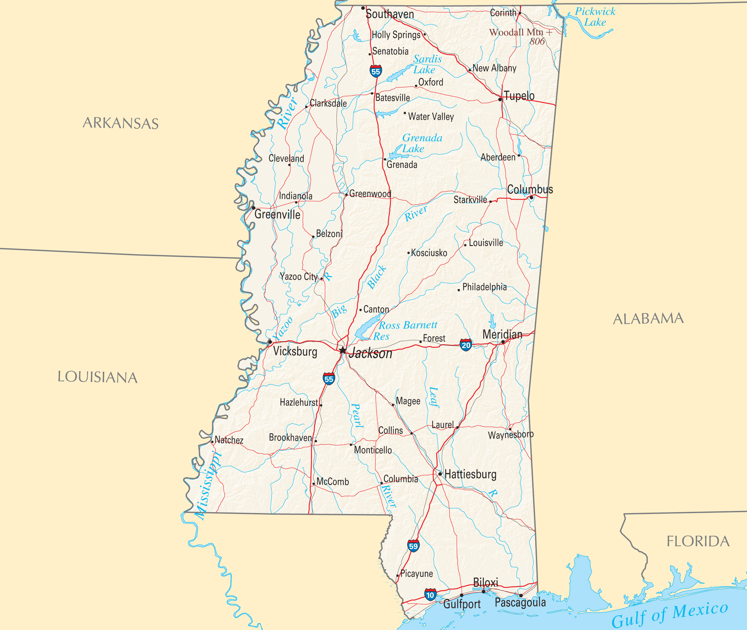Mississippi Reference Map Mapsofnet - Mississippi maps