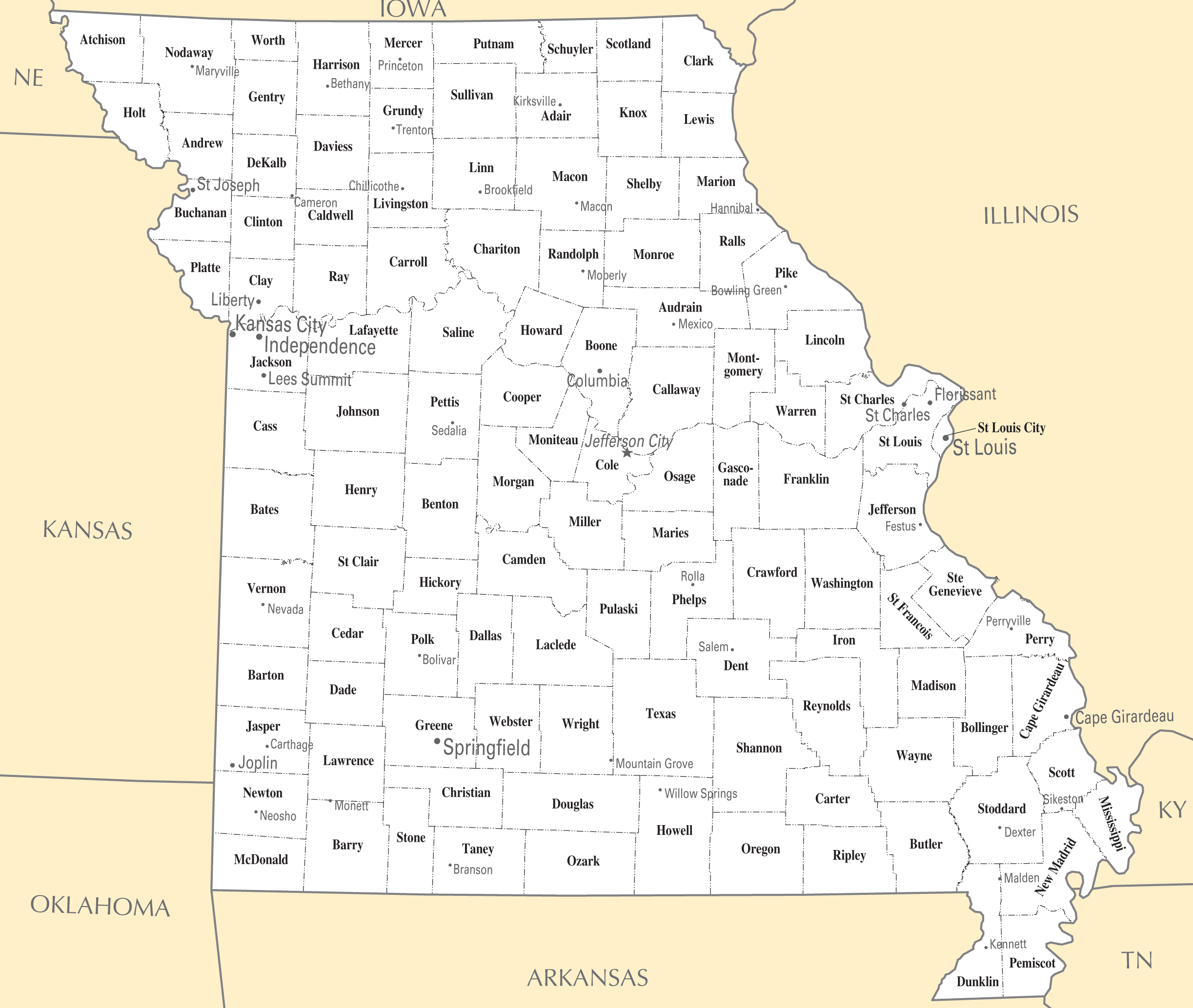 Cities In Missouri Map Missouri Map - Map of cities in missouri