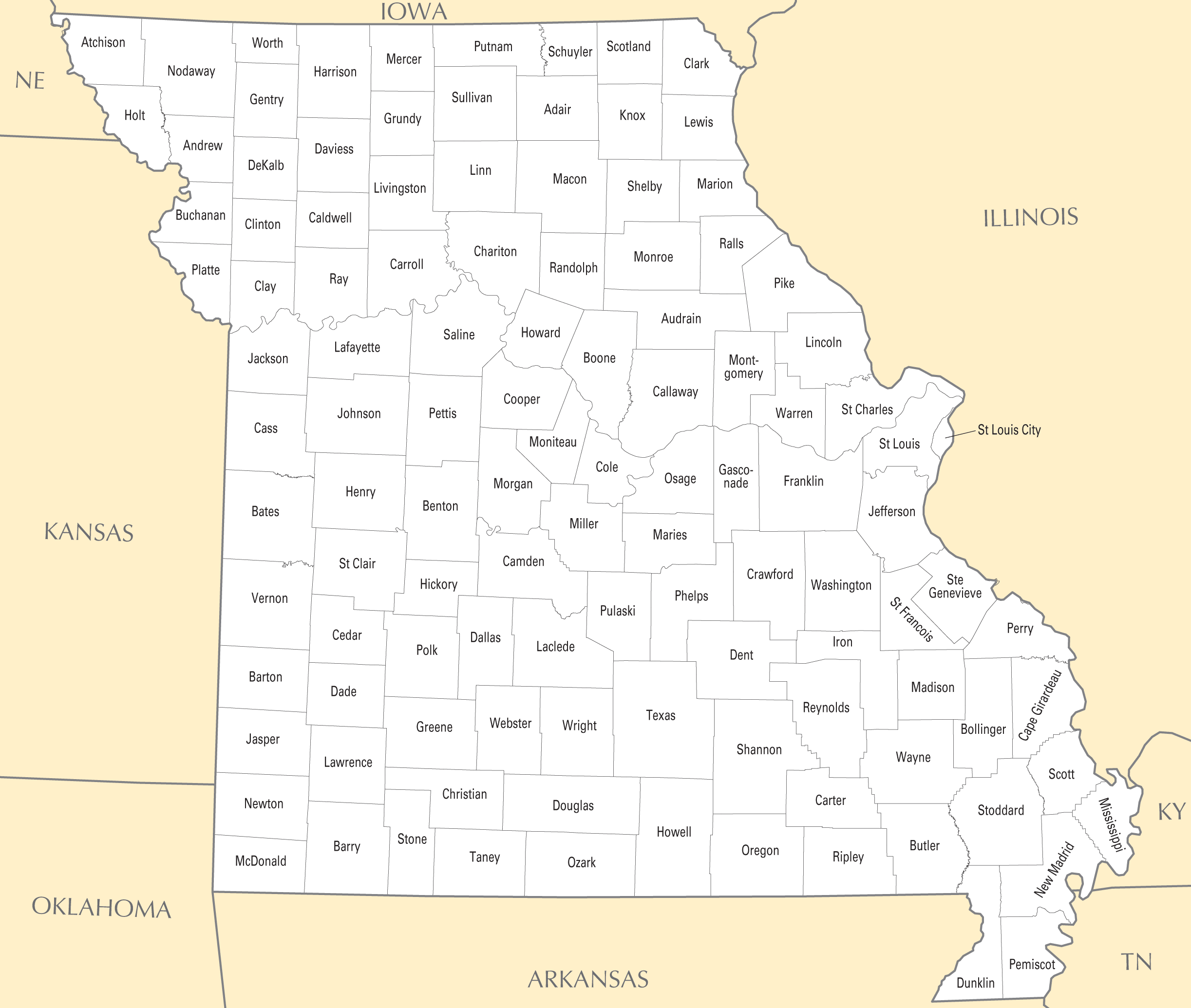 Missouri County Map Mapsofnet - Mo county map