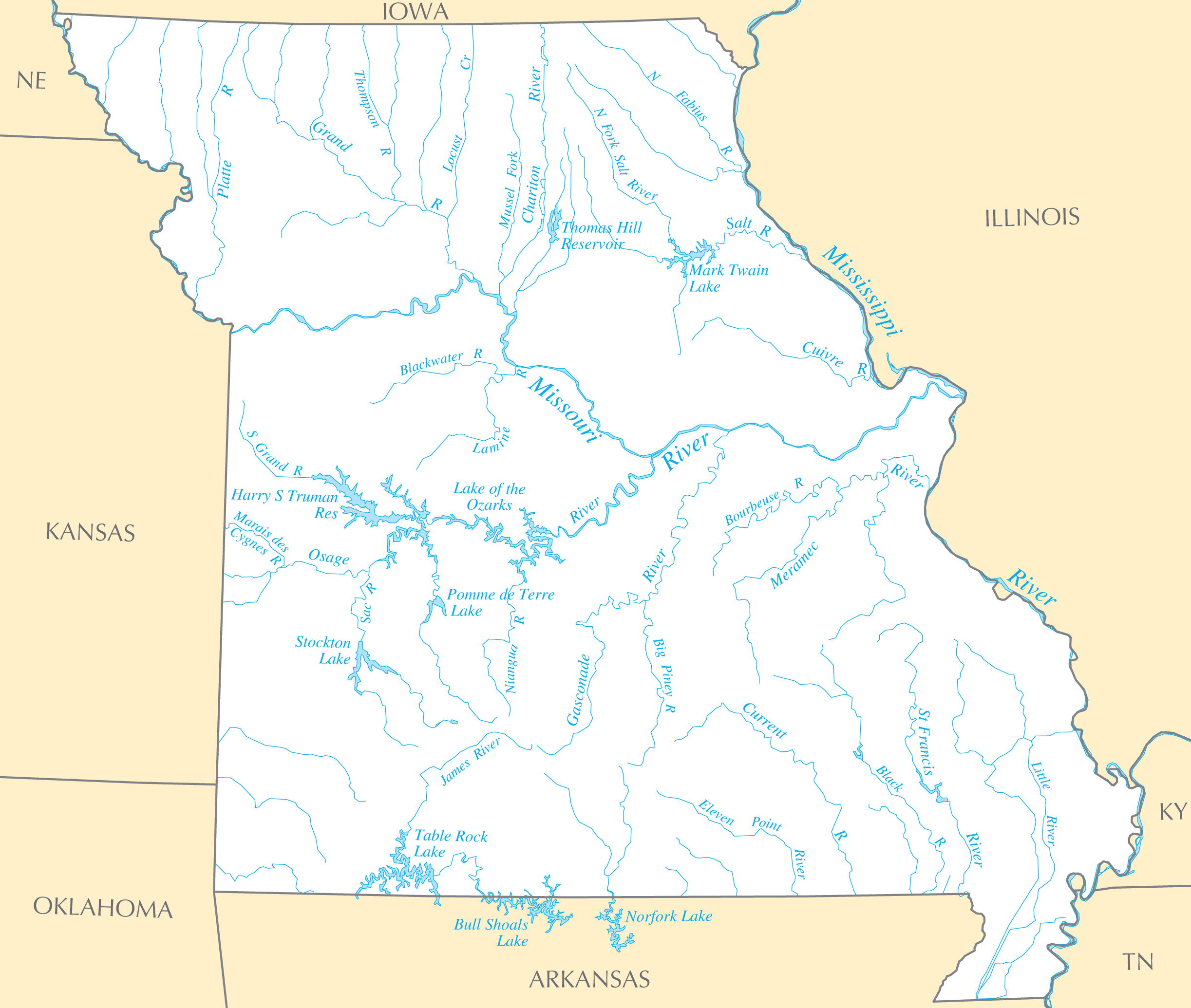 Missouri Rivers And Lakes large map