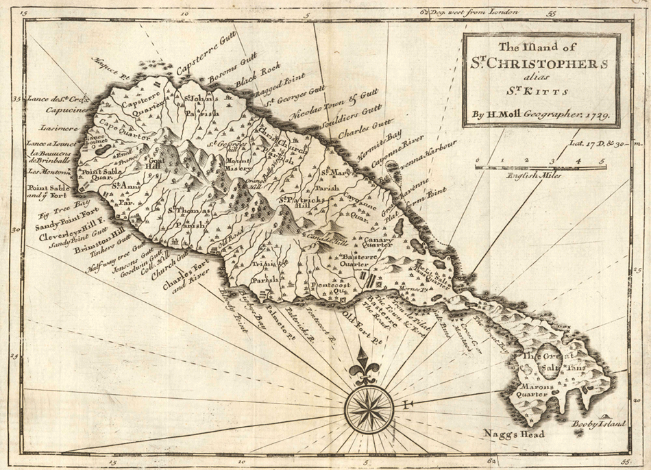 Moll  the Island of St Christophers Alias St Kitts large map