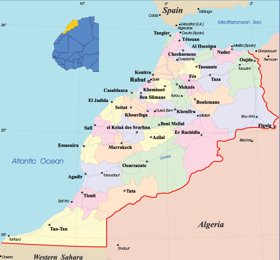 Morocco Political Map Mapsofnet - Map of morocco