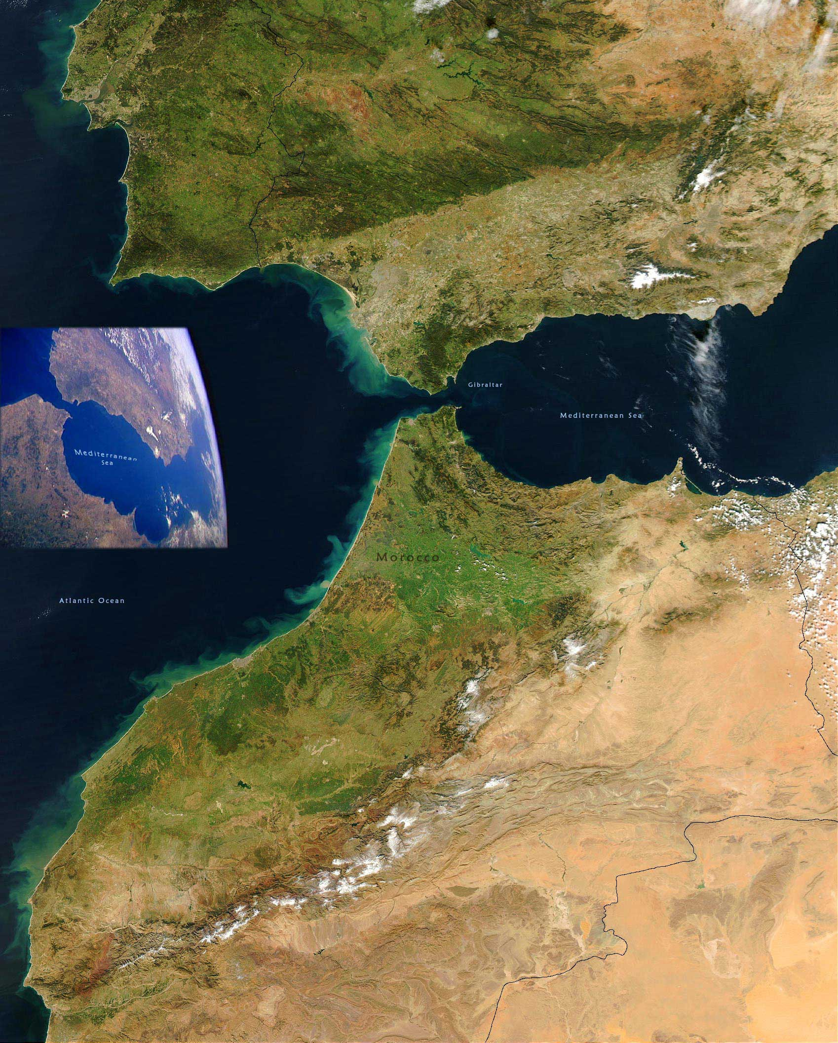 Morocco Spain Satellite Image large map