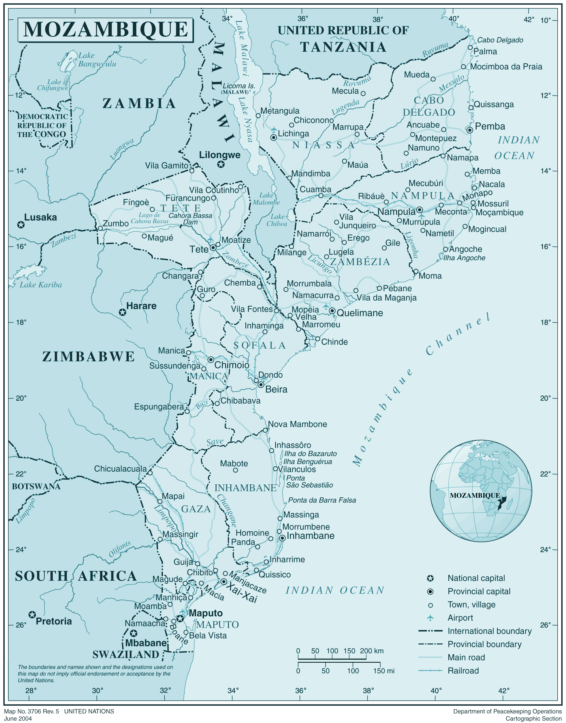 Mozambique large map
