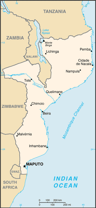 Mozambique Cia Wfb Map large map