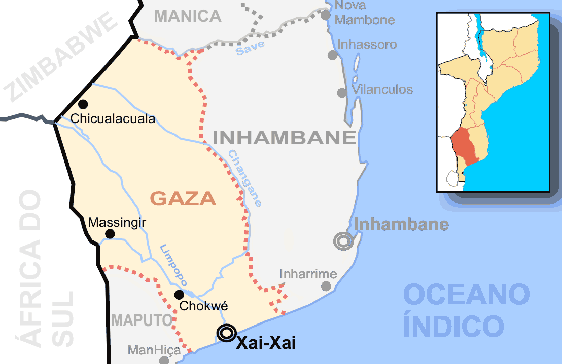 Mozambique Gaza Destaque large map