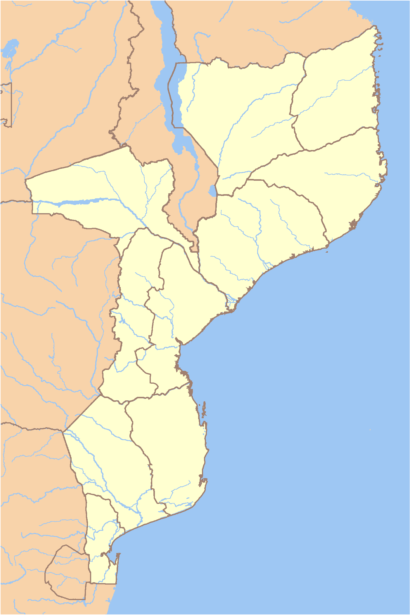 Mozambique Locator large map