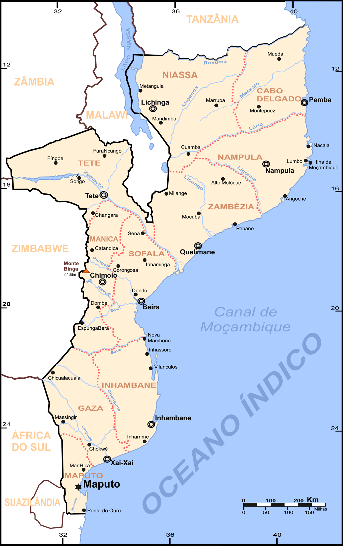 Mozambique Map Cities large map