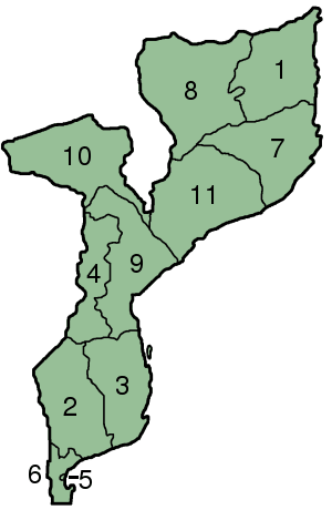 Mozambique Provinces Numbered 300px large map