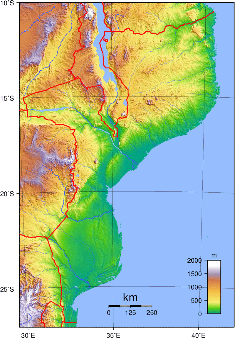 Mozambique Topography large map