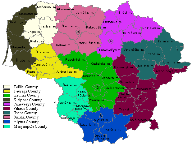 Municipalities In Lithuania large map