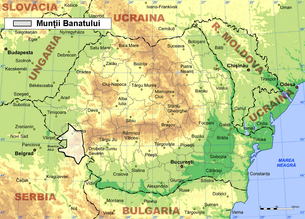 Muntii Banatului large map