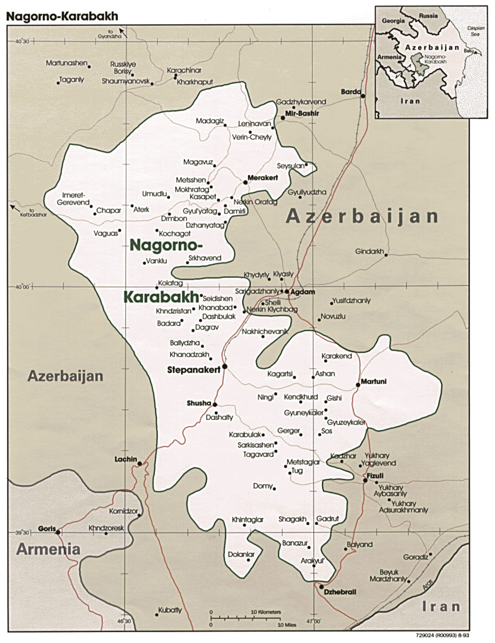 Nagorno Karabakh Map large map