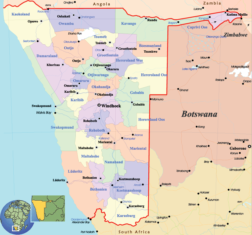 Namibia Political Map large map