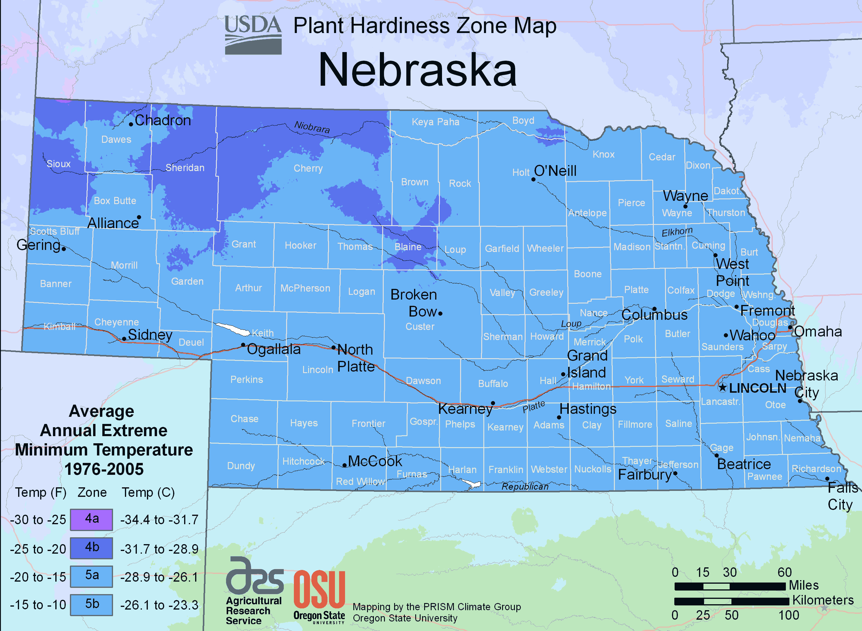 Nebraska Plant Hardiness Zone Map large map