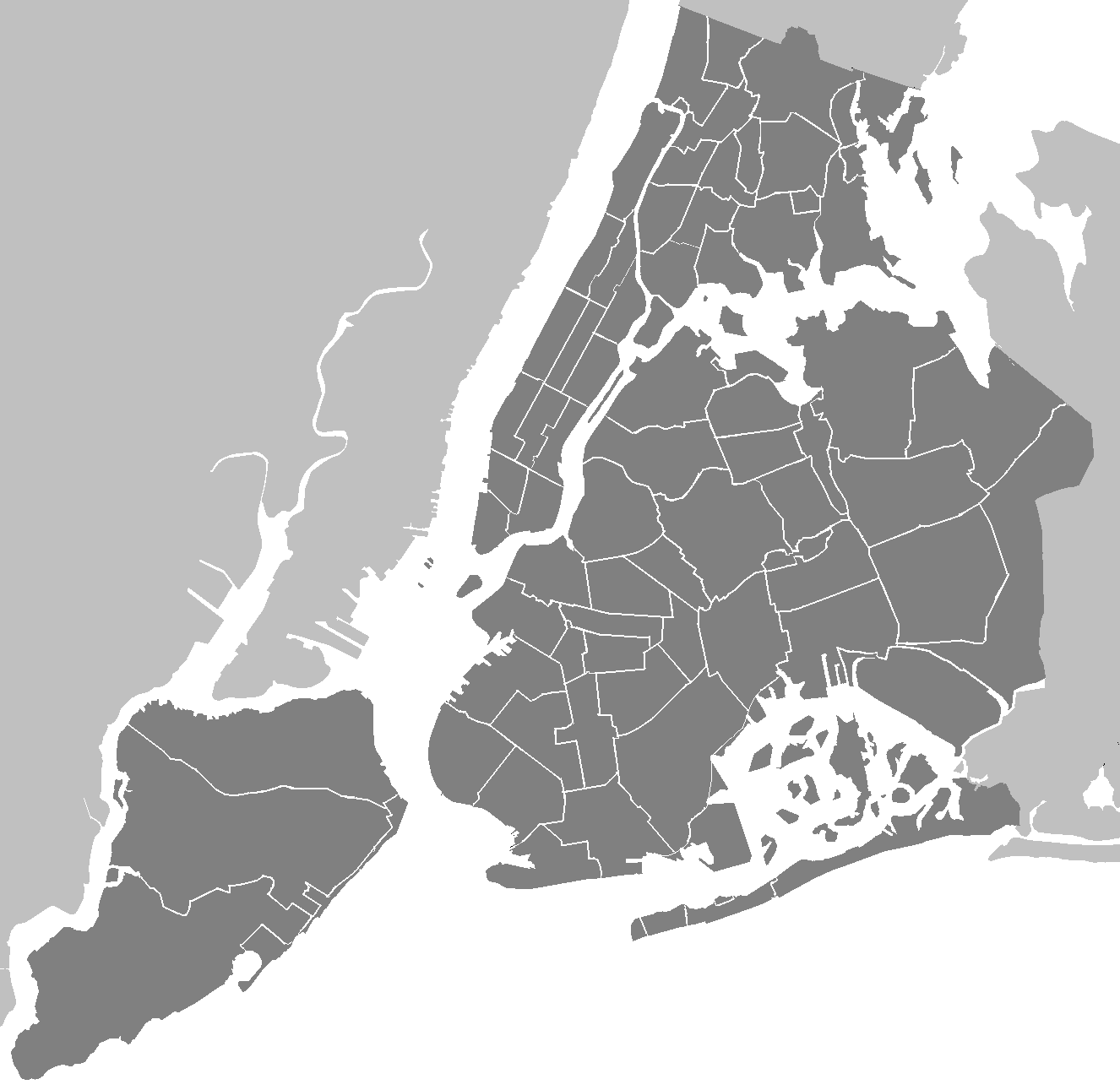 Blank Usable Map Of NYC Boroughs - Nyc map of boroughs