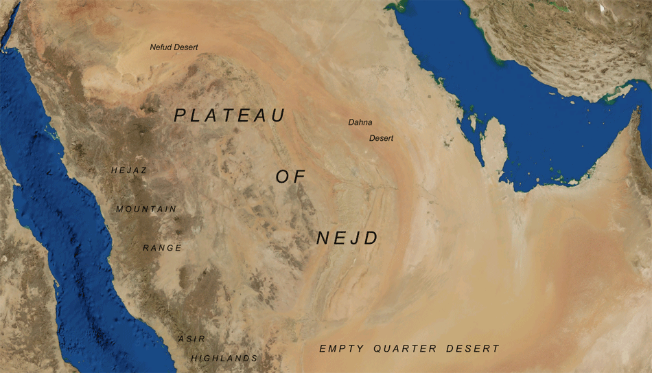 Nejd Saudi Arabia large map