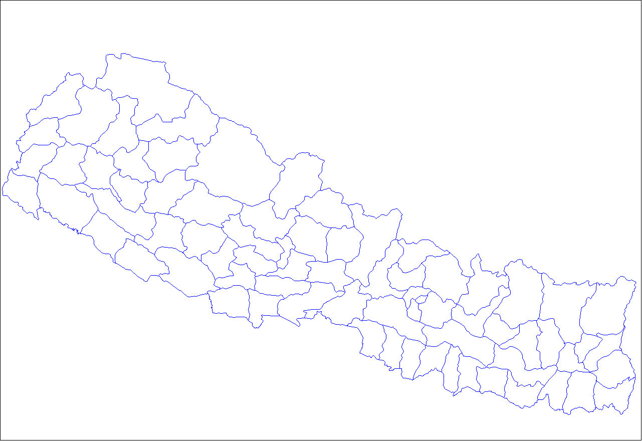 Nepal Districts large map